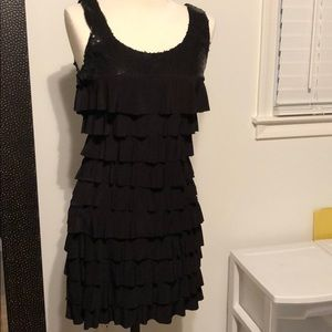 Dresses & Skirts - Black sequin & ruffle dress